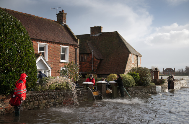Tidal flooding, Bosham, West Sussex.