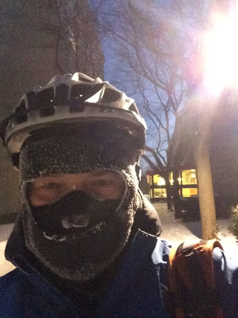 Bike commuting in -42 degrees C (with wind chill)