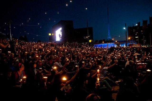Light The Dark Vigil at Federation Square Melbourne