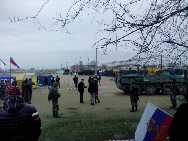 Ukraine. Feodosia. Russian military on the Ukrainian military base