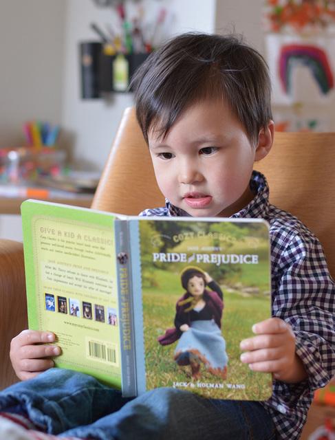 Felix reading Pride and Prejudice--at age 2!