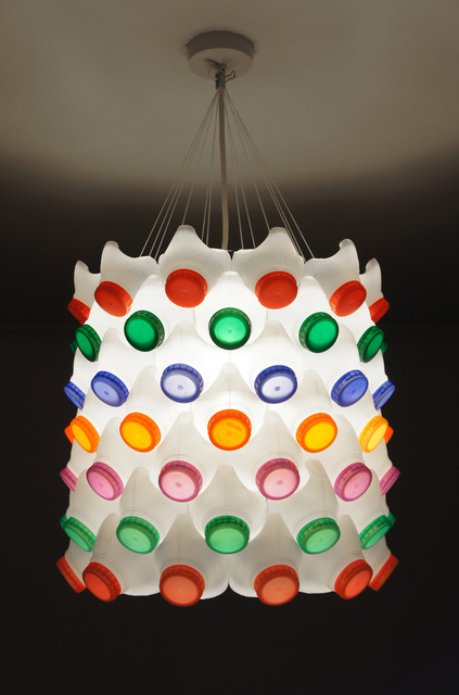 milk bottle lampshade made using 84 bottles