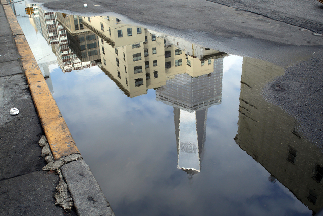 Puddle on Church St. reflecting 1WTC