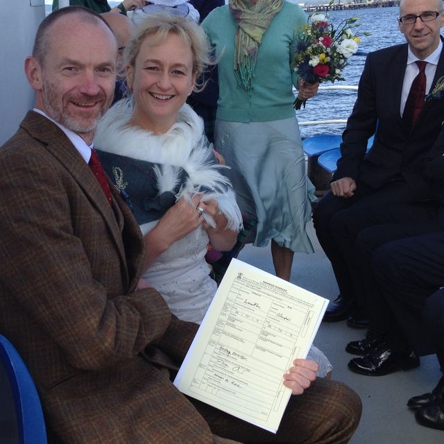 Married on board the Cromarty Queen: Graeme & Catriona