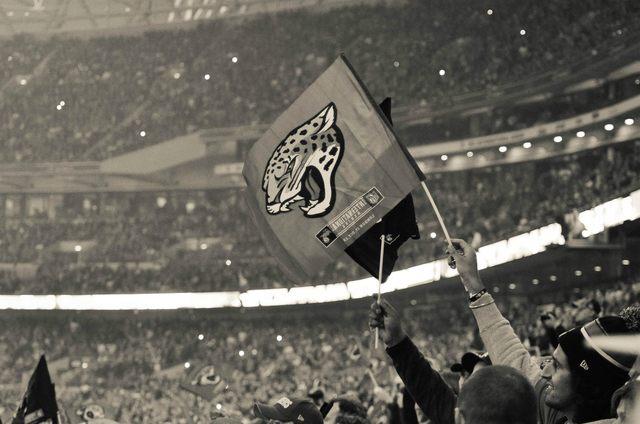 A Jacksonville Fan waves a flag at Wembley London