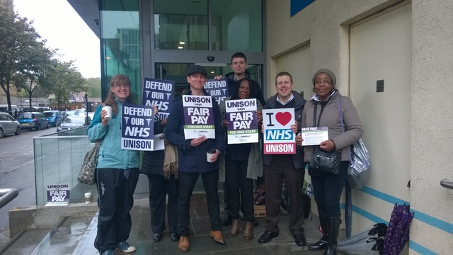 small but active picket line at Moorfields Eye hospital
