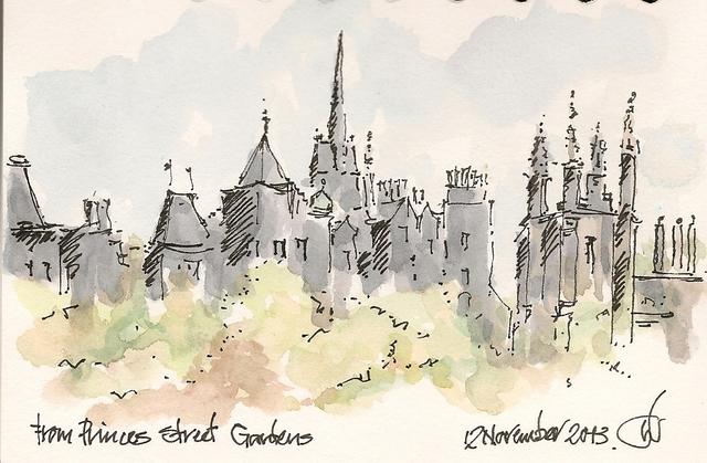 Edinburgh Old Town Skyline from Princess St Gardens