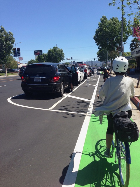 Parking-protected bike lanes on Reseda Boulevard in Los Angeles, CA