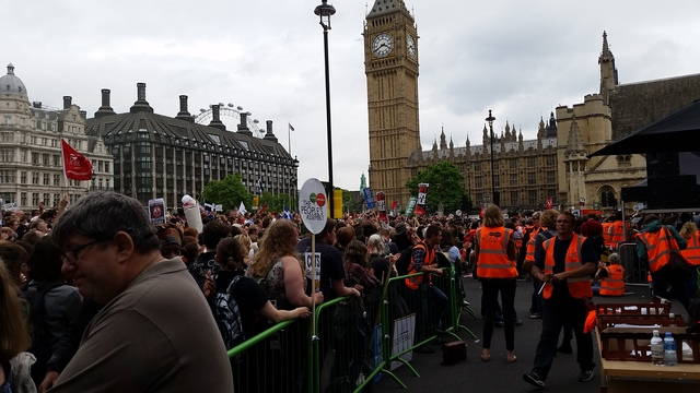 The crowds outside parliament