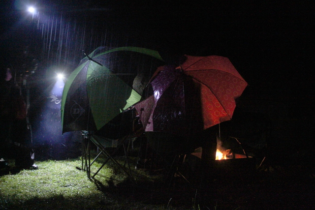Huddled around the camp fire