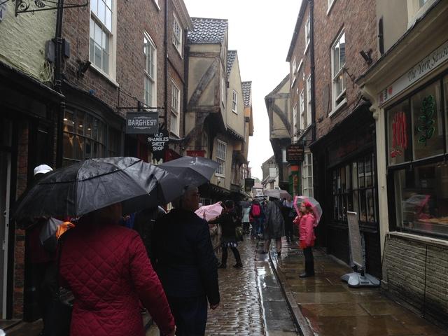 The Shambles, York. Weather: truly a Shambles...