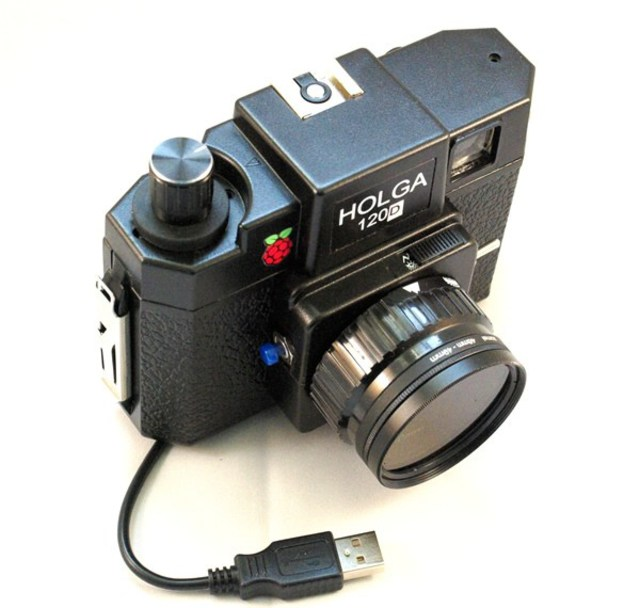 Raspberry Pi hacked into a Holga 120 Film Camera
