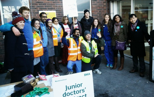 Junior Doctors supported by their patients and colleagues at Newham, London