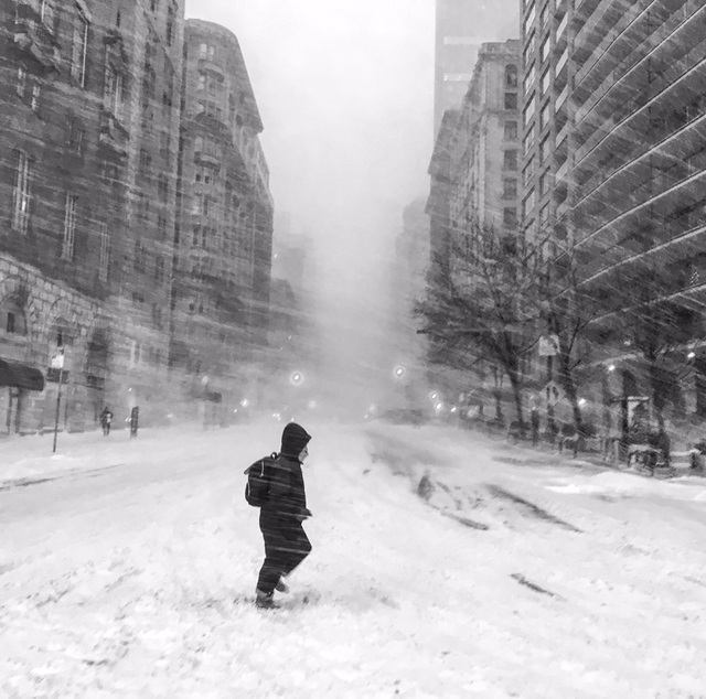 Looking toward Times Square from Central Park South. NYC #blizzard2016
