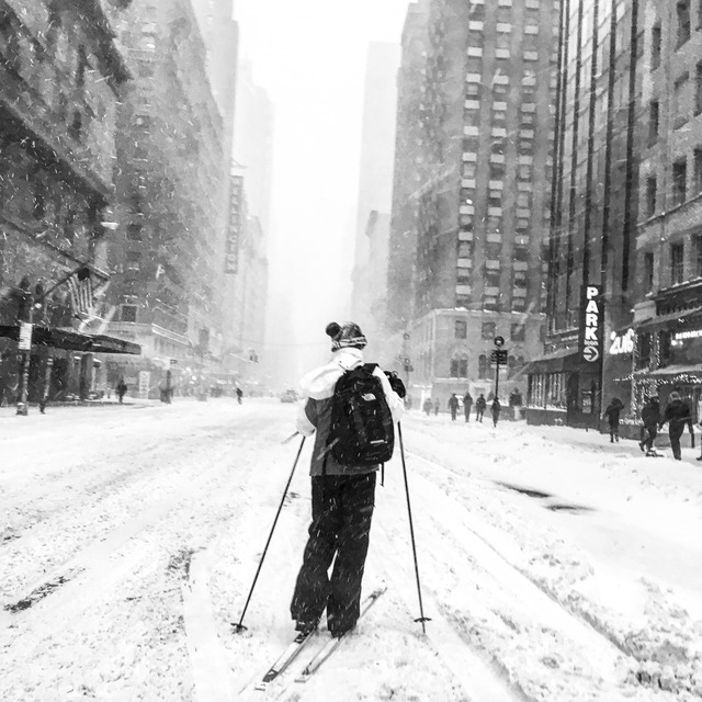 Skiing down 7th Avenue to Times Square. NYC