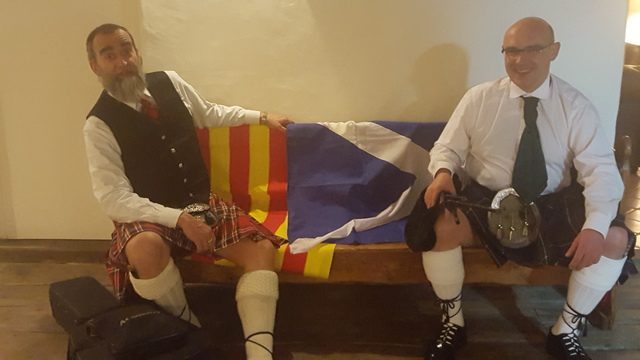 Francesc and Enric, our Catalan Pipers taking a break