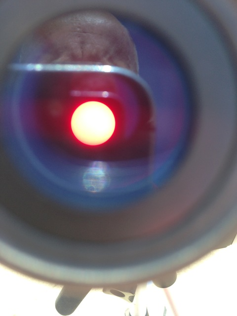 iPhone shot of solar disc from a pinhole observation telescope.