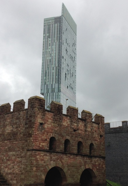 Beetham Tower, Manchester and the Roman Fort at Castlefield.