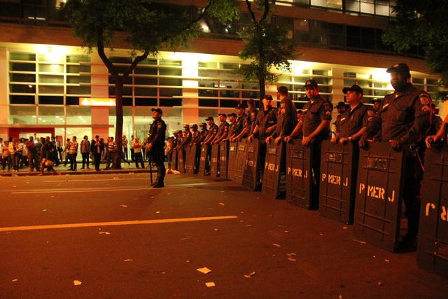 Police escorting the protestors