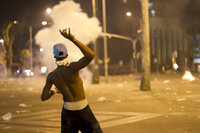 Violent conflicts between protesters and police in Salvador-Brazil