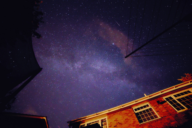 Back garden milky way and an early Perseid meteor.