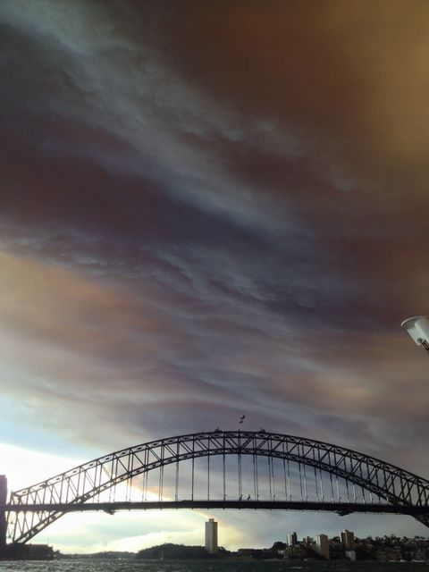 View of Bush Fires from Sydney ferry