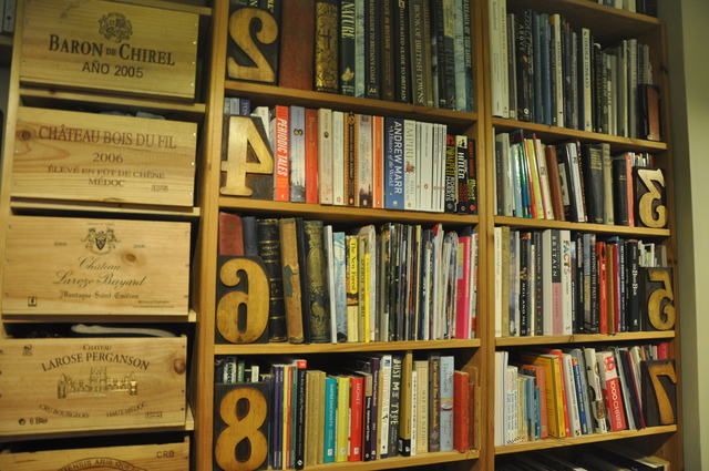 My New Forest homemade study shelves, wood type and wine boxes ;o).
