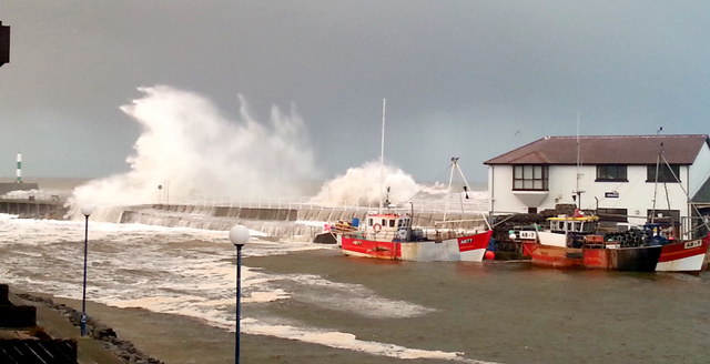 Aberystwyth Harbour At High Tide