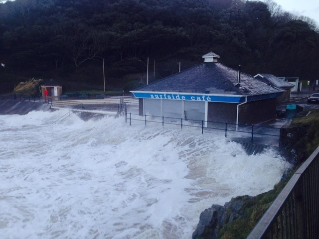 Caswell Bay cafe smashed by waves