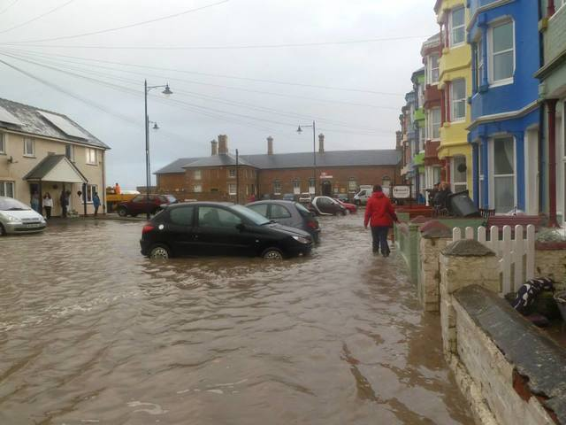 Borth Station flooded