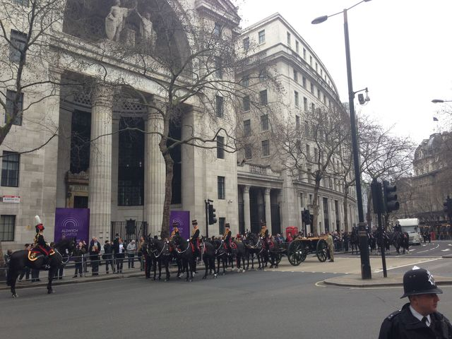The gun carriage formed up on Aldwych