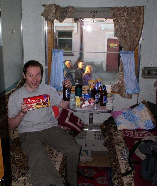 Snacks and beer on the Trans-Siberian
