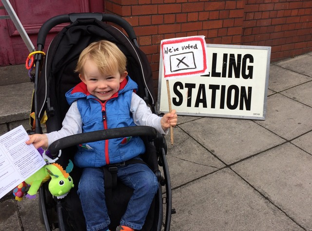 Excited to be voting today, Jacob aged 2