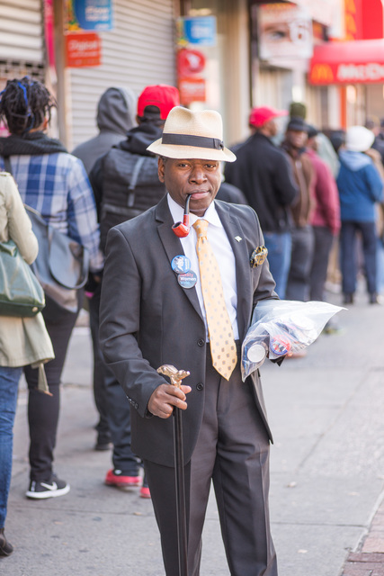 Hopeful for Hillary: Enterprising Man Sells Clinton Buttons in Flatbush, Brooklyn.
